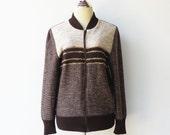 Vintage 60s Cardigan / Unisex Clothing / Wool Cardigan / Size M L