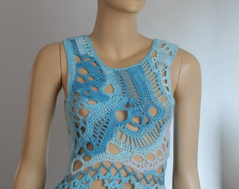 Ready to ship  - Boho Chic Hippie Cotton Multicolor  Freeform Crochet Tank - Top- Summer  - one of a kind - Size XS - S