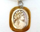 Antique Shell Cameo Necklace, In Handmade Brass, Fine, and Sterling Silver Setting, on Silver Leather Cord