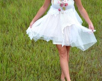 Boho Bridesmaid dress, Bohemian gypsy cowgirl tunic dress, Stevie Nicks Style tutu slip dress, Boho clothing, festival, True rebel clothing