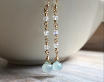 Rainbow Moonstone and Aqua Chalcedony Dangle Earrings, Wire Wrapped Moonstone Earrings, Chalcedony Earrings, Gemstone Jewelry