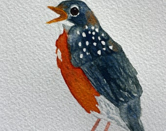 Baby redbreast, robin, bird, original watercolor, children's nursery art, grey and orange, speckled, spring bird