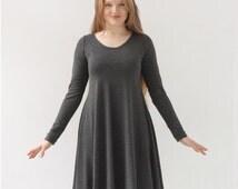 Long Sleeve dress/Charcoal Grey Dress/Oversized Dress/Knee Length Dress/Scoop Neck/Lagenlook Clothing/Grey Dress/Lose Fit Dress/Bamboo Rayon