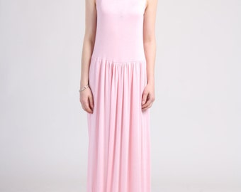 Flowy Sleeveless Maxi Dress- Light Pink