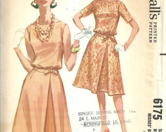 McCalls 6175 / Vintage 60s Sewing Pattern / Dress / Size 12 Bust 32