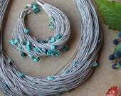 Fiber Bracelet Turquoise Multi Strand Linen Jewelry Chunky Azure Natural Teal Blue Green Mint Organic Zen Textile Beach December Birthstone
