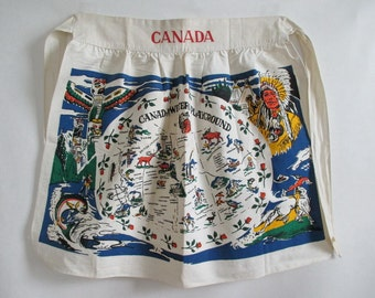 Canada Apron Tourist Map Western Provinces 1940's Vintage Still New