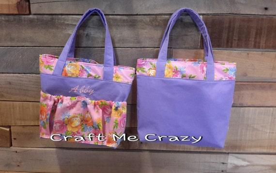Garden Girls Tote - Purple, Pink Floral Print