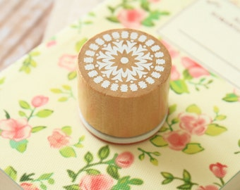 RS-01 WOOD Round STAMP lace doily pattern rubber stamp