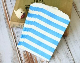 Light BLUE Big STRIPE Paper Bags