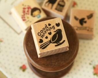 Good Morning WG-02 Wood Stamp Happy Mori rubber stamp