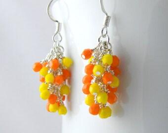 Orange and Yellow Dangle Earrings