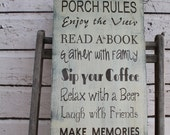 Porch Rules Sign Custom Rules to your Porch primitive Typography Word Art Sign perfect Mother's day gift or Birthday gift
