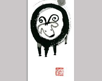Chinese New Year of the Sheep, Ram, Goat, zen Chinese zodiac, Sheng Xiao, zen Sumi ink Painting, zen decor,childrens room art, japanese