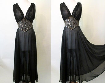 Breathtaking 1930's Sheer Black Silk Chiffon Gown w/ Silver Beading and Sequin Trim Old Hollywood Glamour Starlet Pinup Boudoir Size-Small