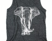 Mens Elephant Tank Top -  Mens Tank Top - Black and White - Elephants Shirt - Mens Eco-Heather - Small, Medium, Large, XL, 2XL
