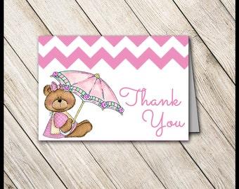 Pink Teddy Bear Baby Shower Thank You Cards / DIY PRINTABLE / Hot Pink Chevron / Invite Diaper Raffle Bingo Name Game Favor Tag