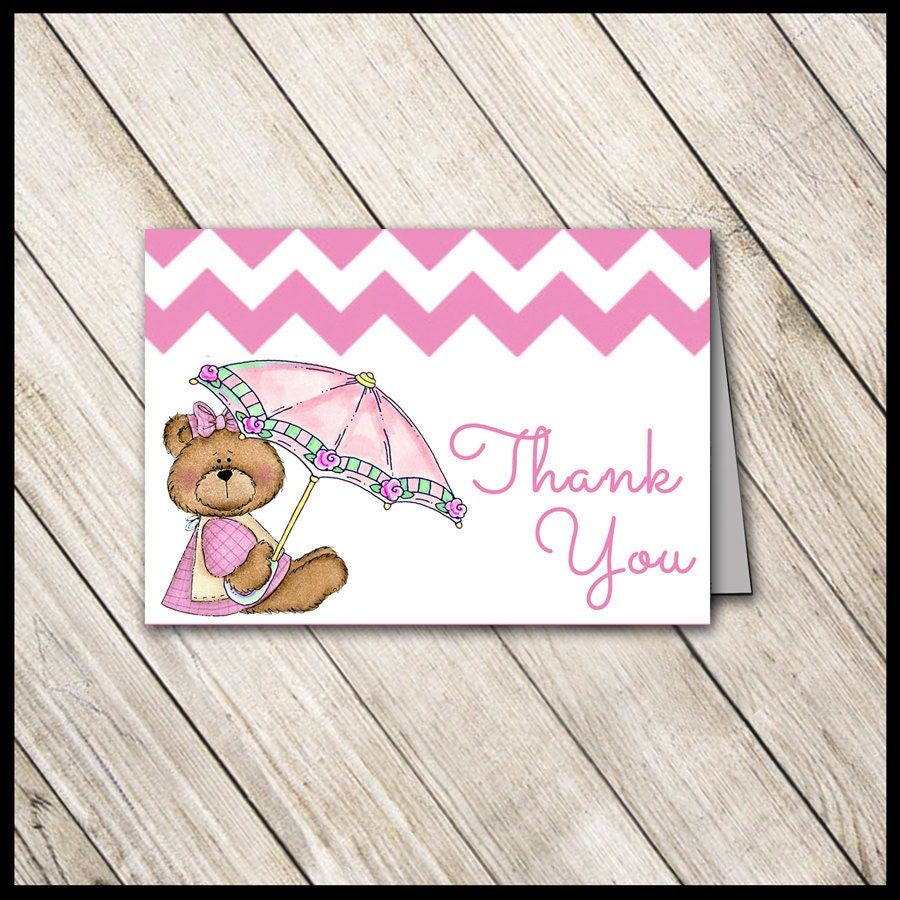 Pink Teddy Bear Baby Shower: Pink Teddy Bear Baby Shower Thank You Cards / DIY PRINTABLE