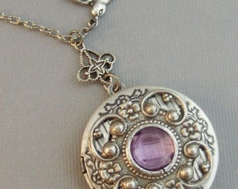 Lavender Tranquility,Alexandrite,Locket,Antique Locket,Silver Locket,Bird,Purple Necklace,Purple Locket,Bird Locket,June, Valleygirldesigns.