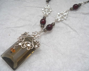 Sterling Silver Filigree and Smokey Glass pendant with Beaded Chain