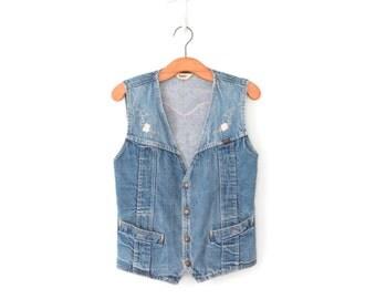 Vintage Jean Vest * 70s Embroidered Vest * Stonewash Denim Top * Medium - Large