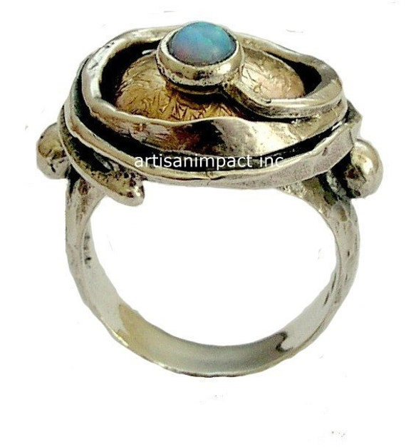 Sterling silver ring, hammered yellow gold ring, statement ring, blue opal ring, gemstone ring, twotones ring - A place under the sun R1470X
