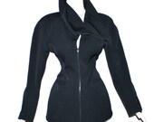 CLAUDE MONTANA Vintage Black Cutout Sculptural Collar Skirt Jacket Suit - AUTHENTIC -