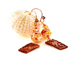 Tribal Glass Bead Earrings. Artisan Copper PMC Dangles. Rustic Boho Earthy Earrings. Lampwork Earrings. Glass Bead Jewelry.