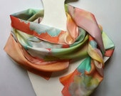 multicolored decorative leaves-silk scarf-red-orange background-hand painted silk scarves collection-long scarf-decorative leaves motive