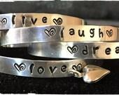 Live Love Laugh Dream Hand Stamped Bracelets,Inspirational jewelry, Silver Bangle Set, Aluminum Cuff Bracelets,Adjustable Cuff Bracelets