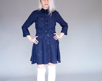 Dark  blue long sleeve velvet dress / devoré print button up collar dress   - 50% off - On sale