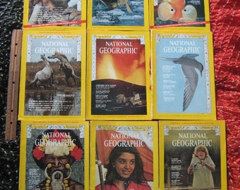 9 Issues 1973 NATIONAL GEOGRAPHIC Magazine, Magazines Year of  '73, Fair Used Condition, History, Wildlife, Science, Chesapeake Bay,