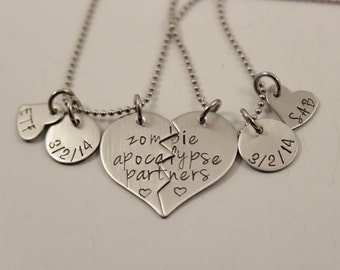 "Necklace Set - ""Zombie Apocalypse Partners"" - Best Friends/Couples - Hand Stamped Stainless Steel"