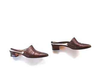 SALE Vintage Leather Heels Size 8.5 / Metallic Leather Heels / Slingback Sandals