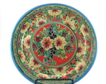 Vibrant Orange Ceramic Plate - Handmade Floral Pottery Platter - Classic Design with Flowers and Blue Trim - OOAK Collectible