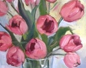 Pink Tulips Canvas Print, Spring Flowers, Free Shipping!!! Reproduction of Original Painting by Cheri Wollenberg,
