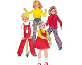 80s Toddler Girls Pants Top Overalls Jumper Nehru Jacket Pattern Butterick 3370 Vintage Sewing Pattern Size 4 Breast 23 inches