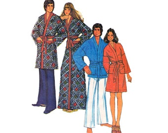 70s Mens Womens Unisex Robe Pattern McCall's 3738 Dressing Gown Wrap Shave Coat Vintage Sewing Pattern MEDIUM Chest Bust 34- 36 inches UNCUT