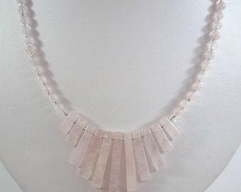 Rose Quartz Necklace Gemstone Necklace Pale Pink Rose Quartz Fan Necklace Pink Quartz Necklace Rose Quartz Silver Rose Quartz Strand