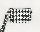 SALE: Houndstooth Wristlet small wristlet bag on sale wristlet crimson tide roll woman gift under 10 vegan bag womens wrist wallet gifts