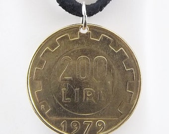 Italian Coin Necklace, 200 Lire, Coin Pendant, Leather Cord, Womens Necklace, Mens Necklace, 1979