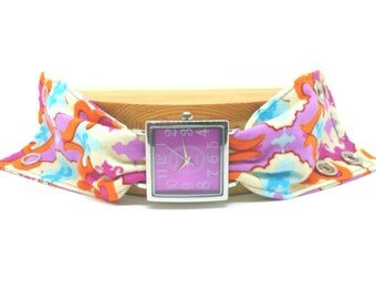 Cuff Watch Fabric Bracelet Band Boho Style for Women Adjustable Gift for Her