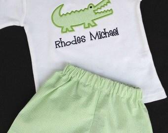 Boys' Personalized Alligator  Short Sleeve Shirt or Bodysuit with Optional Shorts