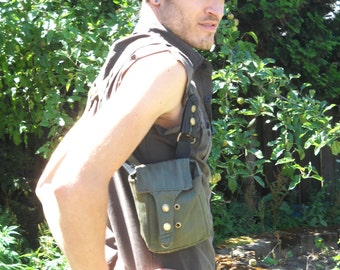 Steampunk style - Shoulder Holsters, olive green pinstriped