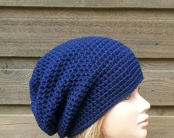 womens summer hat, womans crochet summer slouch hat, girls crochet slouch hat, navy blue slouchie beanie, vegan friendly hats, adult 3333