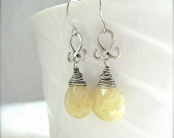 Yellow Calcite Earrings, Oxidized Silver Filled Wire Wrapped Drops, Faceted Calcite Teardrops, Oxidized Silver Flourish, 938