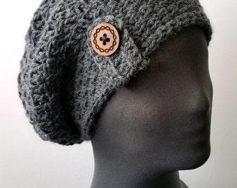 Crochet Beret - Charcoal Gray Heather