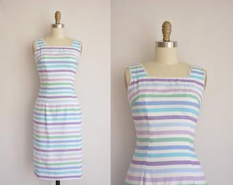 1950s dress/vintage 50s dress/ pastel striped dress