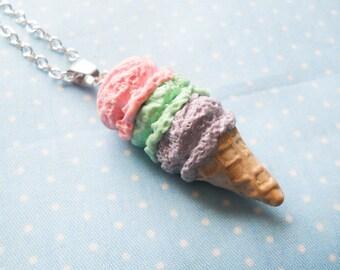 Pastel Ice Cream Cone Necklace, Ice Cream Necklace, Ice Cream Cone, Pastel, Kawaii Kei, Sweet Lolita, Dessert Necklace, Food Necklace