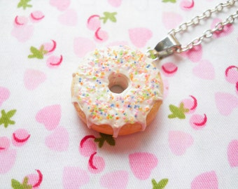 Doughnut Necklace, Donut Necklace, Sprinkle Donut, Food Necklace, Dessert Necklace, Miniature Food, Sprinkle Doughnut, Lolita, Kawaii